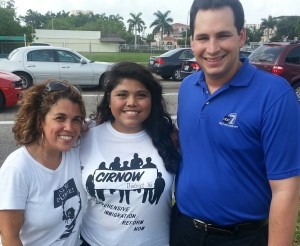 Immigration Rally Sarasota.Maria Quezada, Jeanette Ocasio, Max Winitz (cropped)